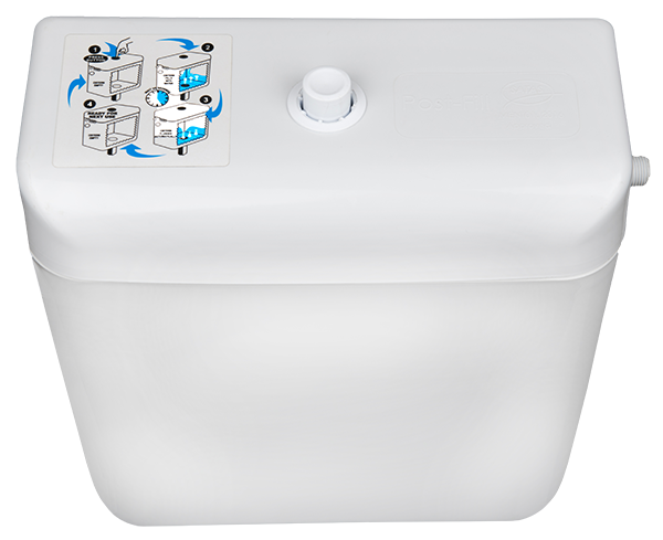 Plastic cistern with button